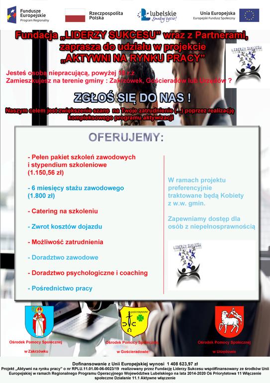 Plakat projektu Aktywni na rynku pracy [543x768]