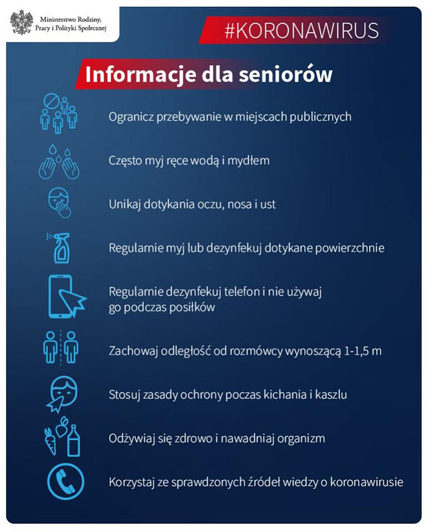 Ulotka dla seniora odnośnie stosowania zasad przeciwdziałającym koronawirusowi (link otworzy duże zdjęcie)
