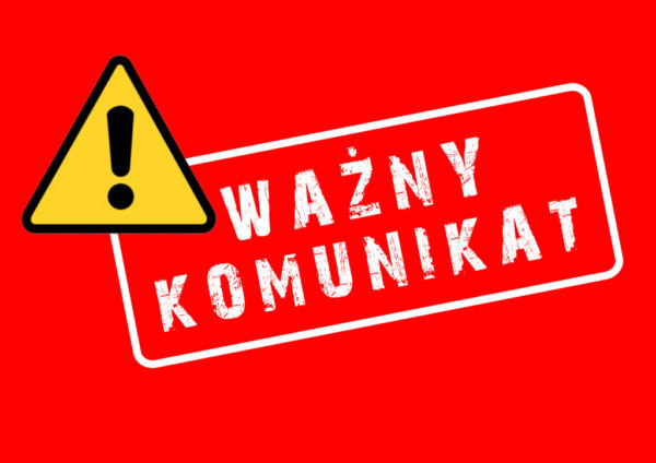Obrazek przedstawiający napis ważny komunikat na czerwonym tle (link otworzy duże zdjęcie)